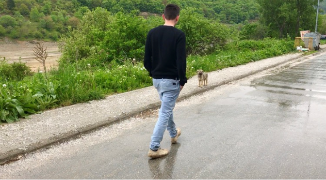 Bardhi Murati mit Straßenhund