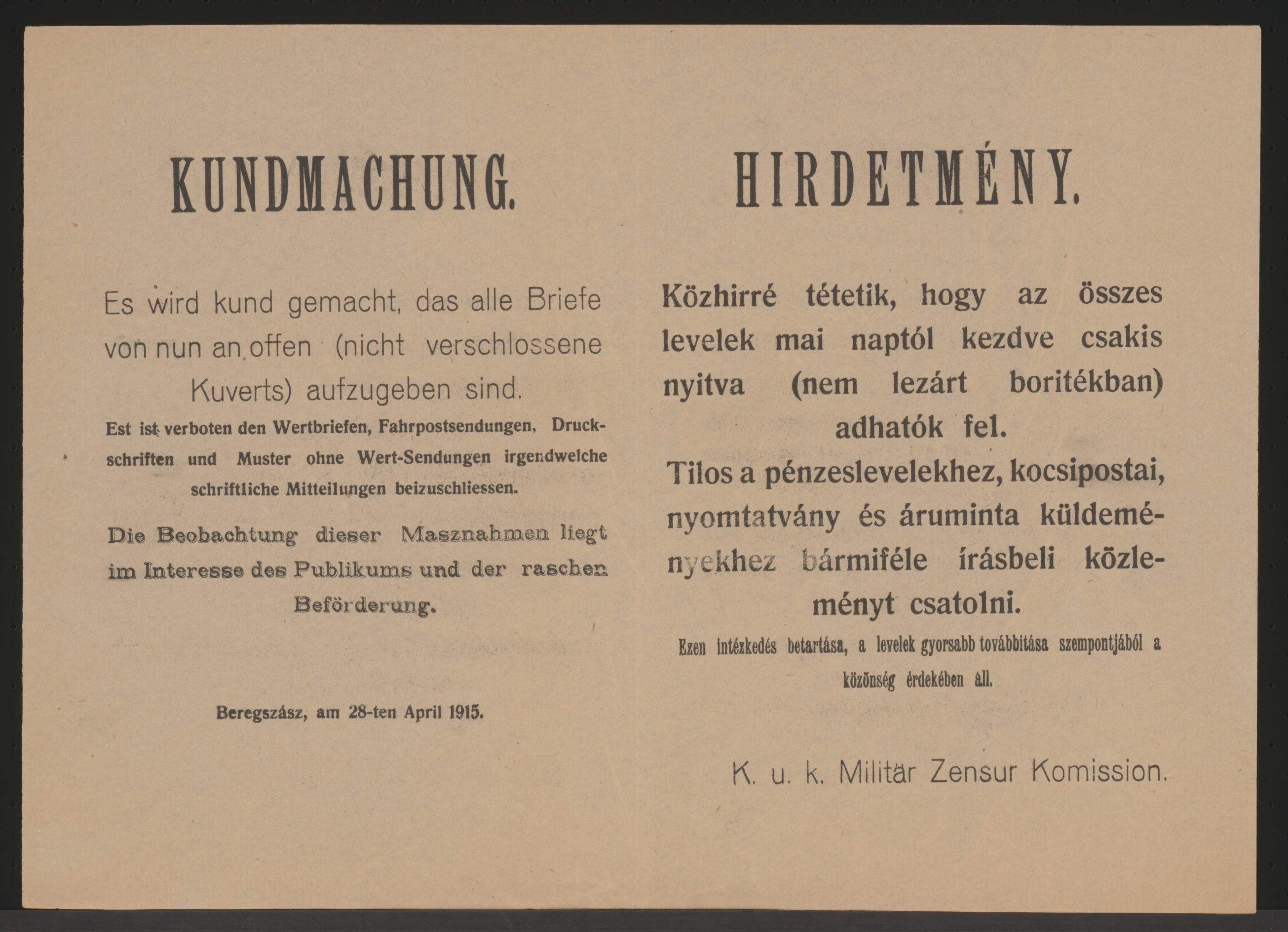 Notice of the Austro-Hungarian Military Censorship (Österreichische Nationalbibliotek)