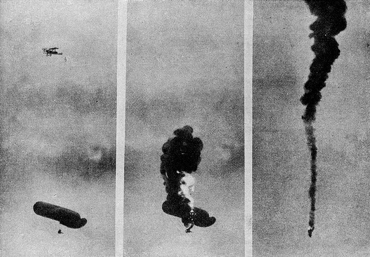 German plane destroying an enemy balloon (Wikipedia)