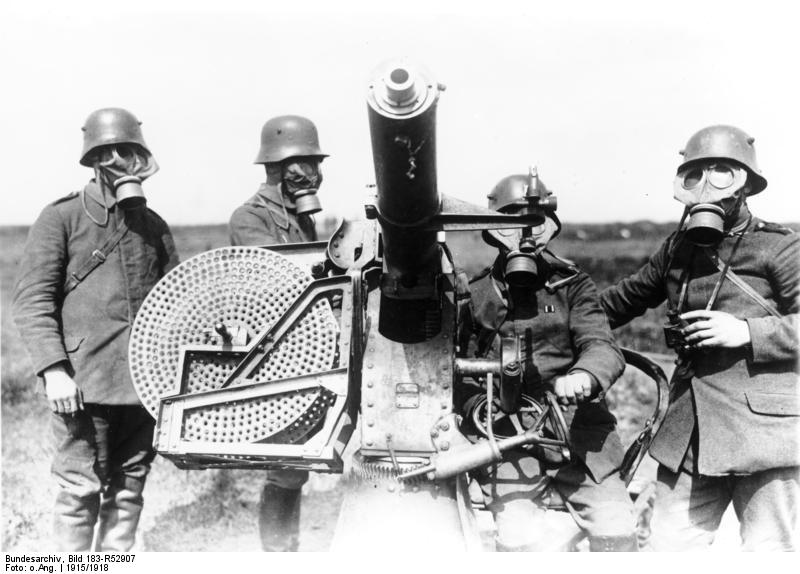 German soldiers wearing a gasmask (Wikipedia)